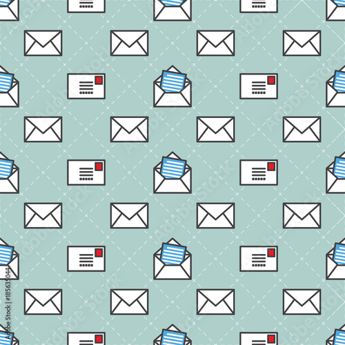post mail service Vector Seamless Pattern isolated wallpaper - mail background