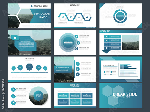 Blue hexagon Abstract presentation templates, Infographic elements