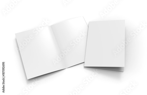 A3 half-fold brochure blank white template for mock up and