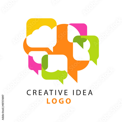 Creative idea logo template with abstract colorful overlapping