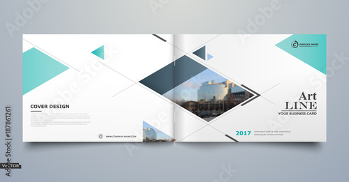 White business card style A4 brochure cover design Info banner