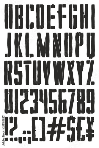 Vintage Propaganda Poster Stencil Spray Paint Freehand Vector Font