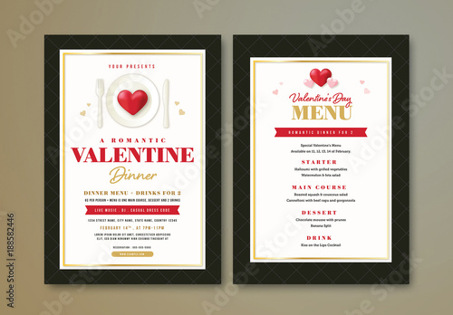 Valentine\u0027s Day Dinner Flyer and Menu Buy this stock template and