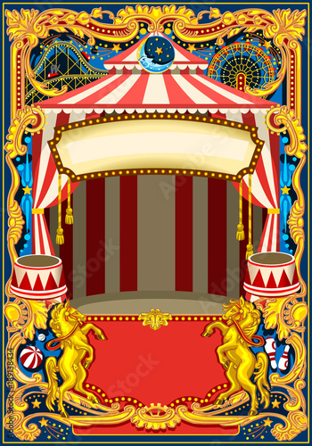 Circus poster theme Vintage frame with circus tent for kids