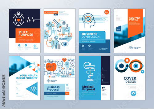 Set of medical brochure, annual report, flyer design templates in A4