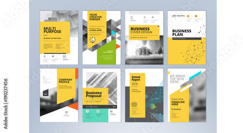 Set of business brochure, annual report, flyer design templates in