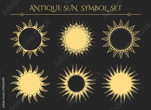 Sun symbols Vintage starburst mystical icons or spiritual geometry