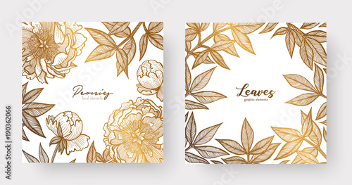 Gold cards templates for wedding stationery, with vintage style, or