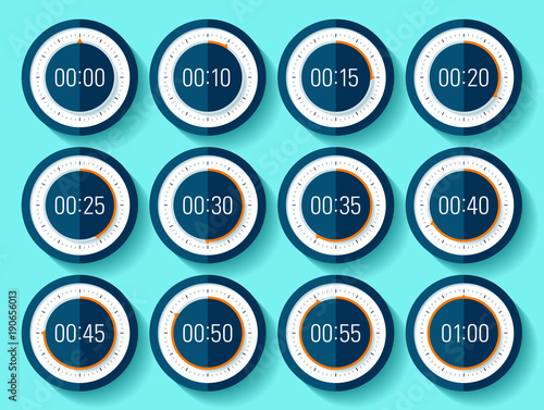 Stopwatch icons set in flat style, timer on blue background Sport