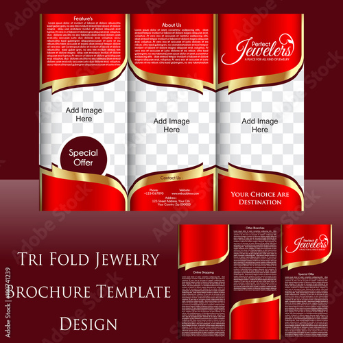 Tri Fold Jewelry Shop Brochure Template Design - Buy this stock