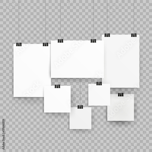 Frames or poster templates isolated on transparent background
