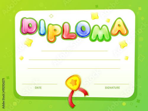 Cartoon kids certificate, diploma template Vector children