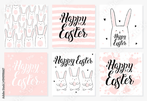 Hand drawn Happy Easter postcard, card, invitation, poster, banner