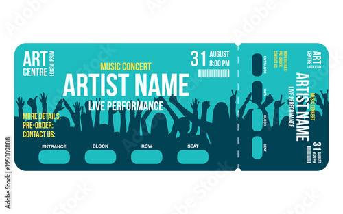 Concert ticket template Concert, party or festival ticket design