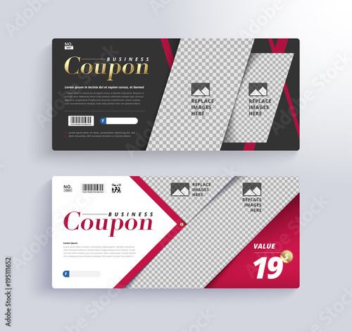 GIFT COUPON Template Blank space for images - Buy this stock