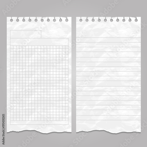 Wrinkled ripped lined page templates for notes or memo - Buy this - lined page