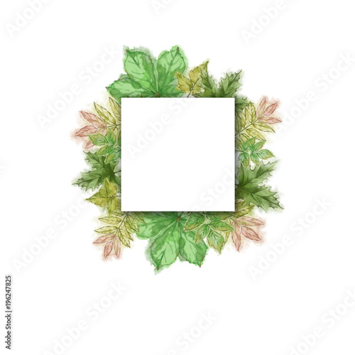 Green Leaf Template with Square Text/Copy Space Watercolor Hand