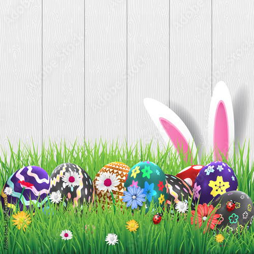 Happy easter image vector Modern happy Easter on wooden background - easter greeting card template