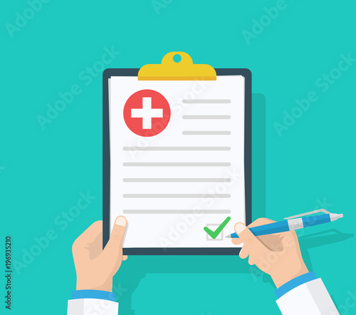 Doctor hold clipboard and takes notes on it Medical report