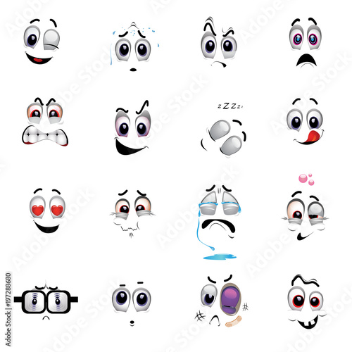 Set of various face emoji icons Emoticons for web sites Vector