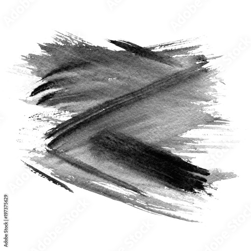Abstract black watercolor background Ink illustration Hand painted