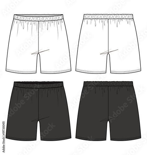 Shorts Pants fashion flat technical drawing template - Buy this