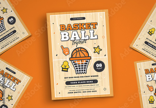 Basketball Tryouts Flyer Layout Buy this stock template and explore - basketball flyer example