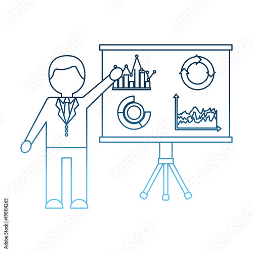 businessman pointing presentation board with report financial vector