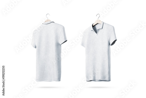 Blank white polo shirt with hanger mockup isolated, front and back