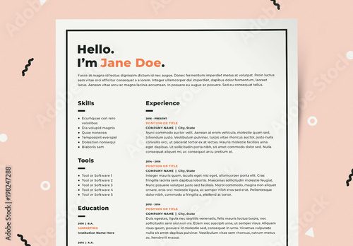 Resume Layout Kit with Orange Accents Buy this stock template and - resume with accents