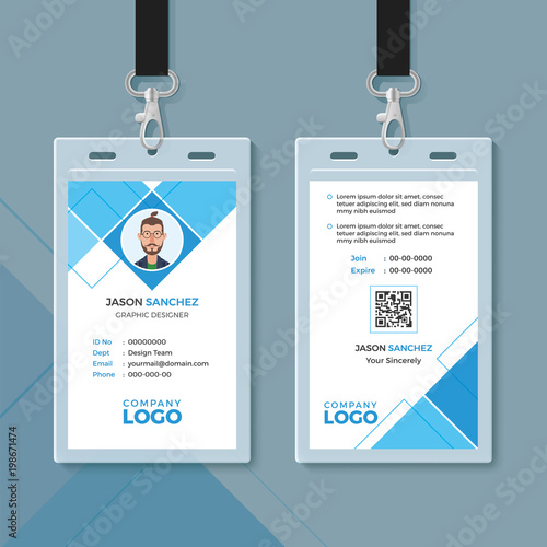 Simple Blue Geometric ID Card Design Template - Buy this stock - card design template
