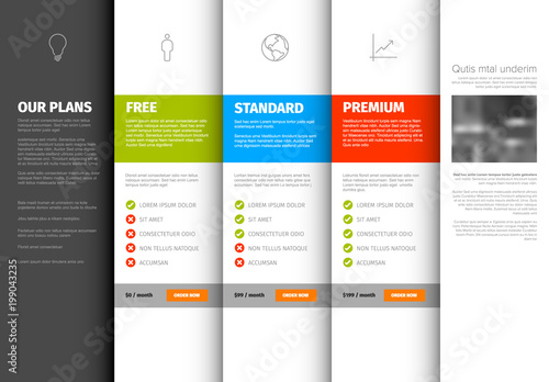 Product / service pricing comparison table template - Buy this stock