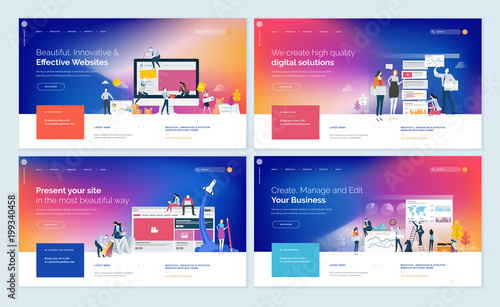 Set of website template designs Modern vector illustration concepts - how to create a website template