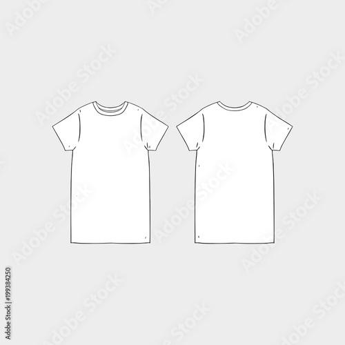 Hand drawn vector illustration of blank women\u0027s short sleeve t-shirt