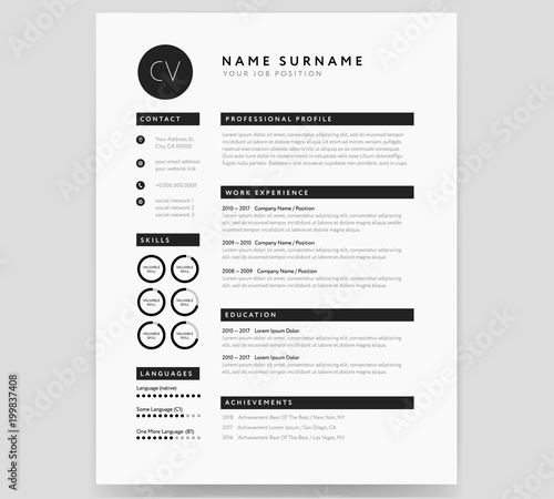 CV template modern professional sample in minimalist style black and