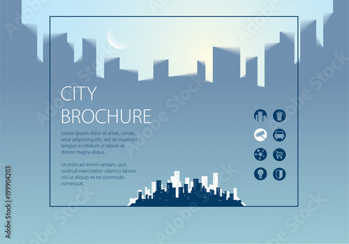 Simple minimalistic city skyline traveling tourist guide book - guidebook template