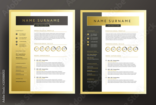 Expert CV / resume template in black and gold colors - professional
