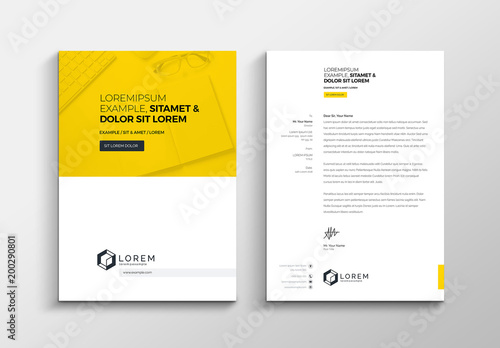 Yellow and White Letterhead Layout Buy this stock template and