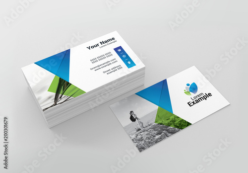 Green and Blue Travel Business Card Layout Buy this stock template