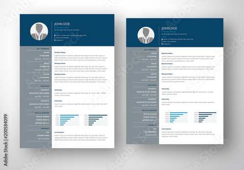 Resume Layout with Blue and Gray Accents  Buy this stock template