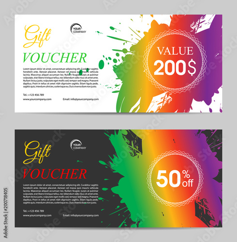 Two gift voucher vector template with colorful splash - Buy this