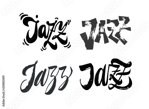 Set of Jazz lettering word Expressive brush pen lettering Perfect