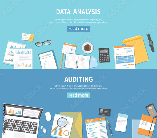 Set of banners backgrounds for business and finance Auditing, data