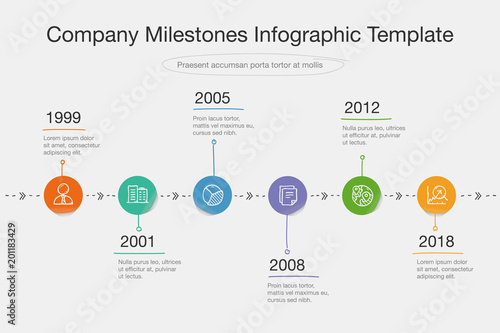Vector infographic for company milestones timeline template in