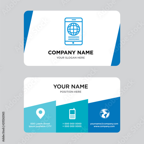 Mobile phone globally connected business card design template - Buy