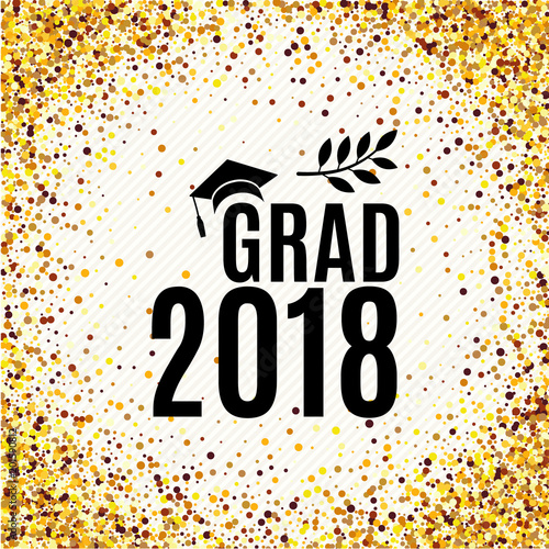Graduation 2018 class of greeting card with hat, laurel for