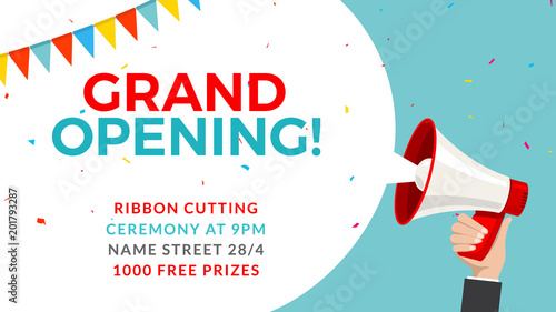 Grand opening flyer banner template Marketing business concept with - grand opening flyer