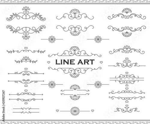 Line art frames and scroll elements Floral linear border design
