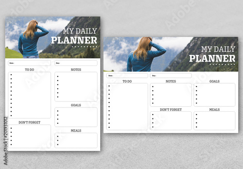 Personal Daily Planner Layout  Buy this stock template and explore