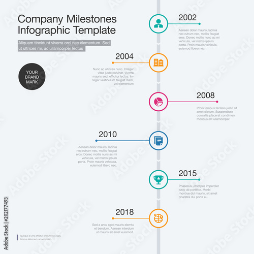 Vector infographic for company milestones timeline template with